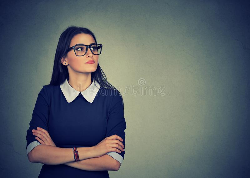 Angry offended woman looking away royalty free stock photography