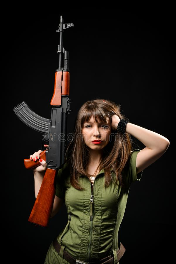 Beautiful Sexy Girl Holding Gun Stock Photos - Download