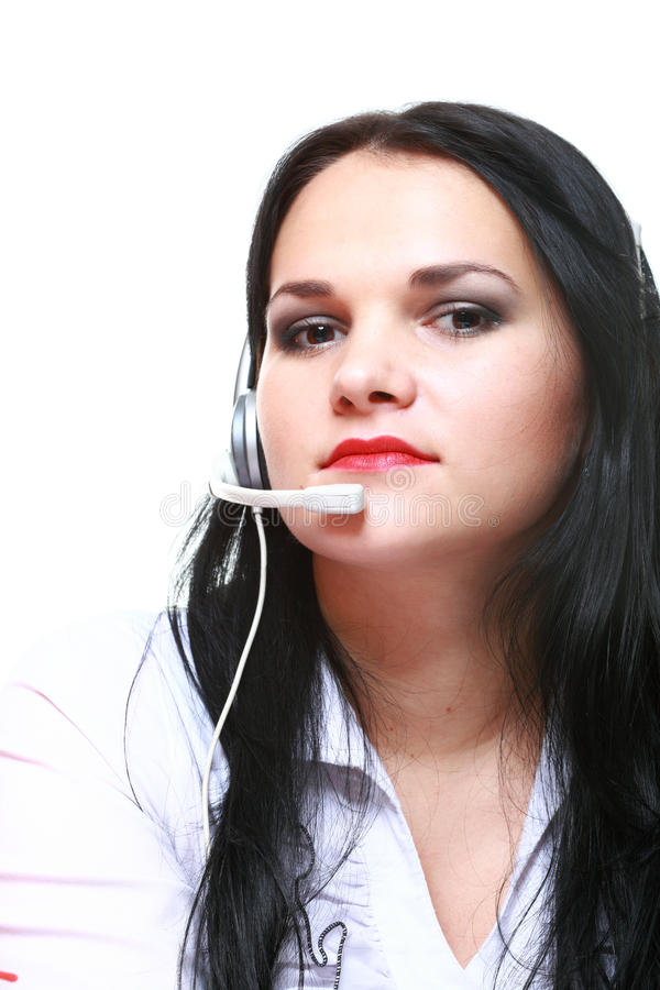 Young brunette girl with headphones royalty free stock photo