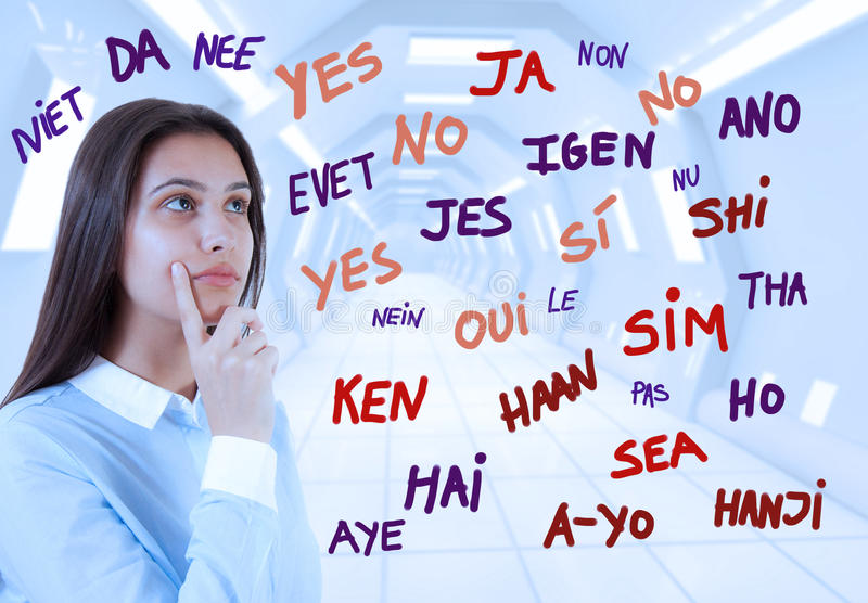 Young brunette girl and word yes stock photography