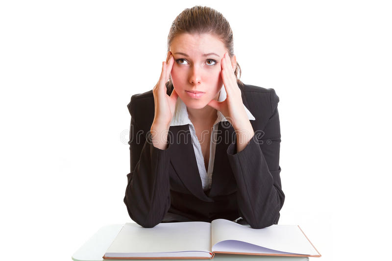 Download Young Brunette Hardly Studying From The Book Royalty Free Stock Image - Image: 29456906