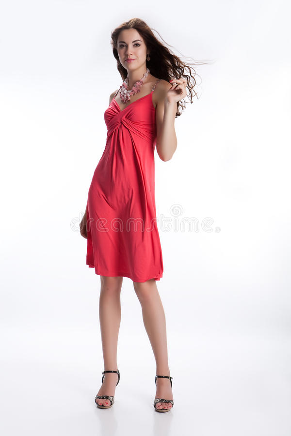 Free Young Brunette In Red Dress Stock Photo - 10421690