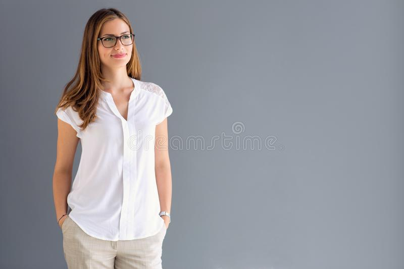 Young brunette model standing stock photos