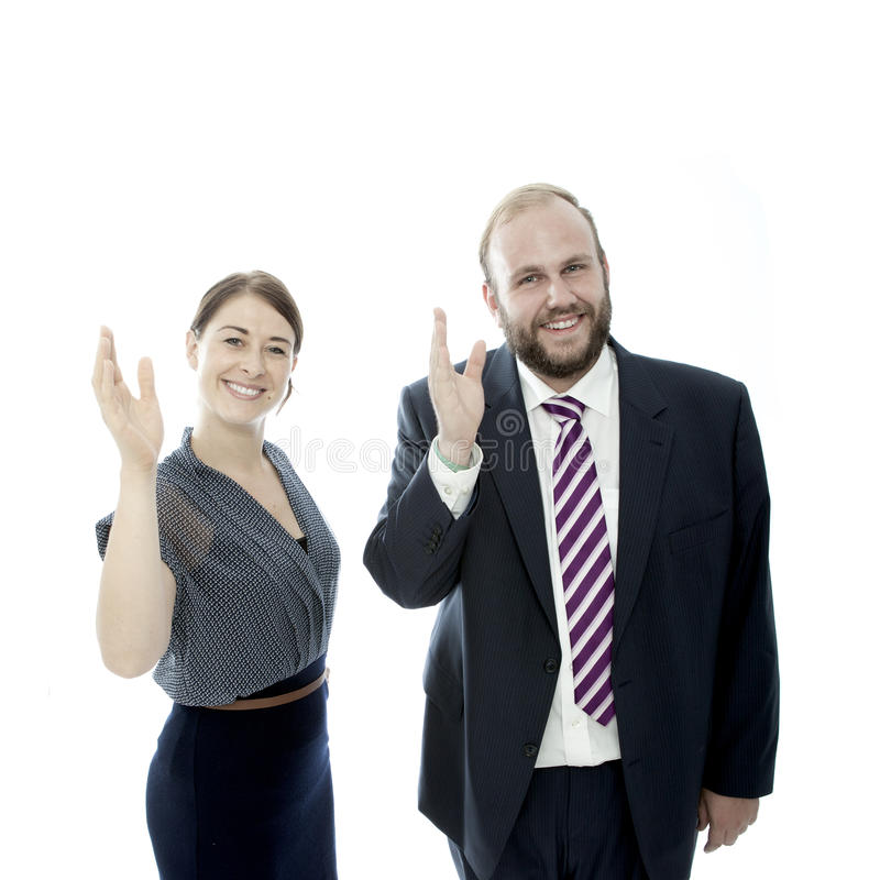 Download Young Brunette Woman And Beard Business Man Wave Stock Image - Image: 26148707
