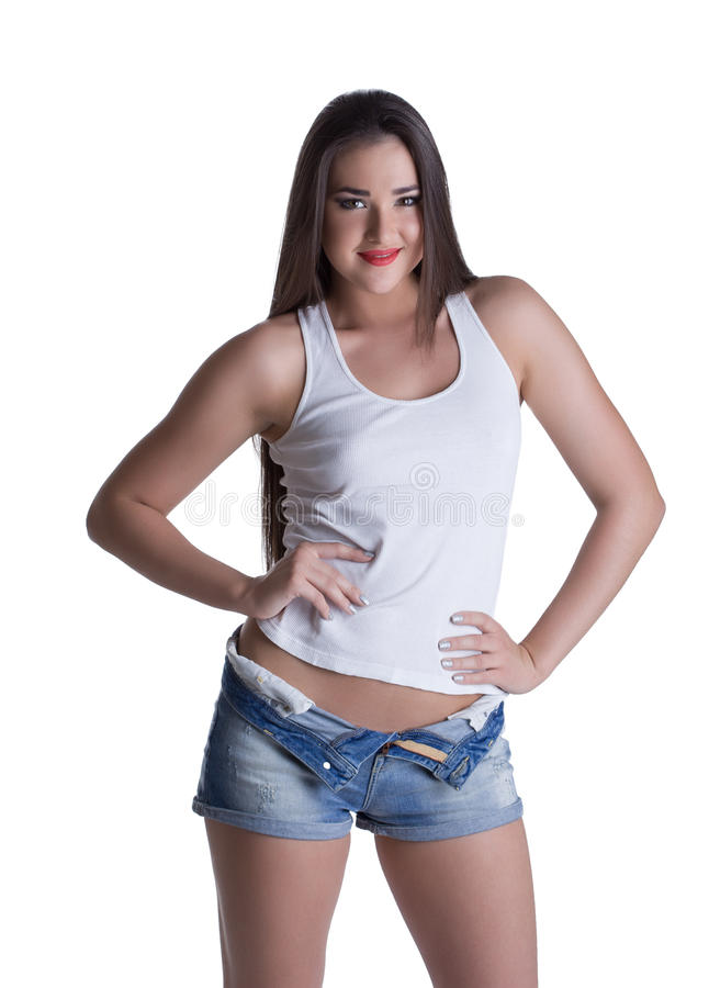 Download Young Brunette Woman In Denim Shorts And White Top Stock Photo - Image: 28852892