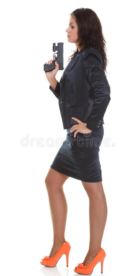Download Young Brunette Woman With Gun Isolated On White Stock Photo - Image: 35586136