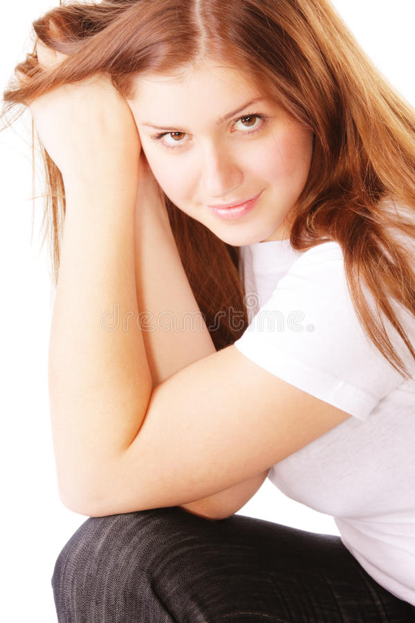 Download Young Brunette Woman Leaning On Hands Stock Image - Image: 11889041