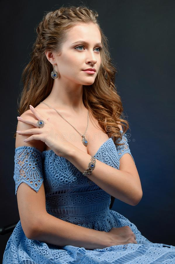 Young brunette woman in luxury jewelry, lifestyle rich people co royalty free stock photos