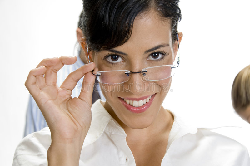 Download Young Brunette Woman Posing With Her Eyewear Stock Photo - Image: 6580876