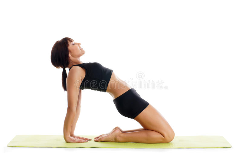 A young brunette woman stretching her back royalty free stock photography