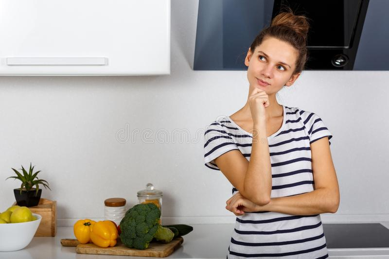 young brunette woman talks stock image