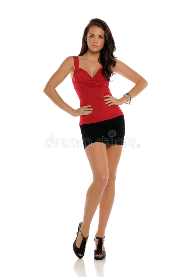 Young brunette woman wearing a short skirt stock images