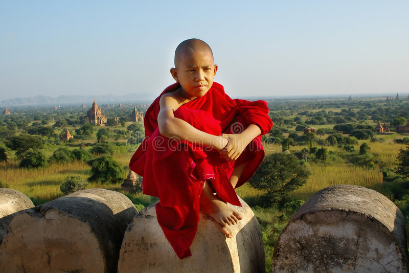 Download Young buddhist monk stock photo. Image of eastern, stupa - 4132126