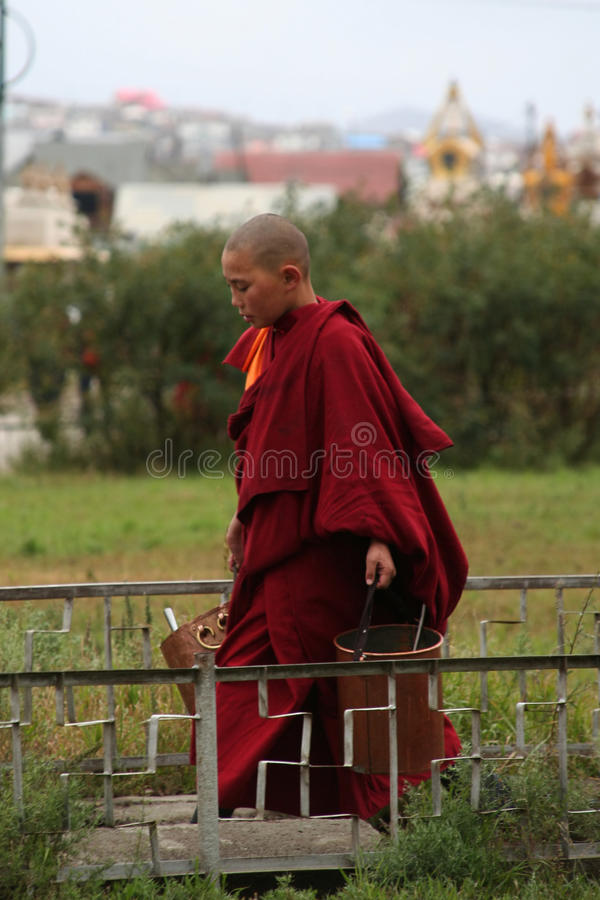 Young buddhist monk in ulan bator in mongolia