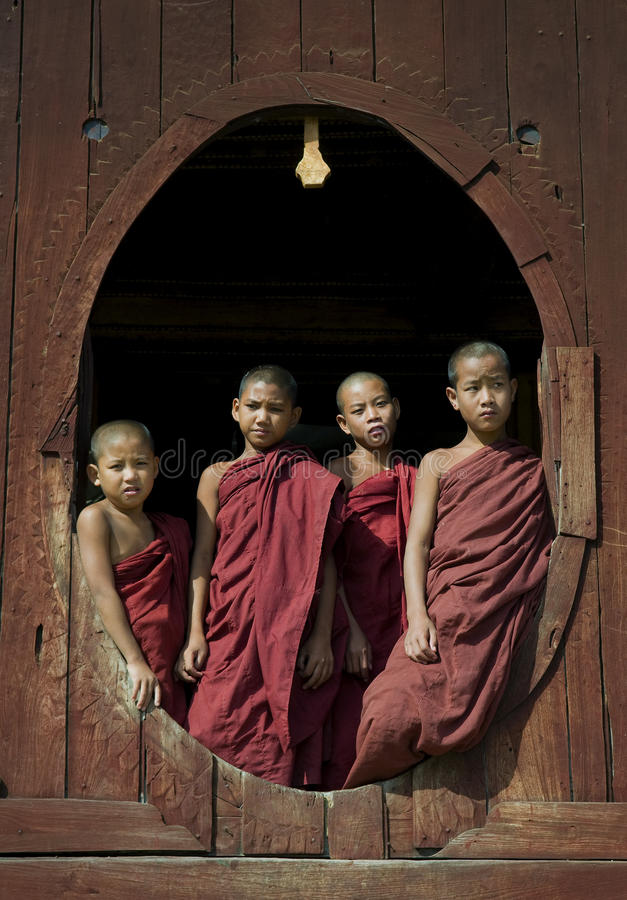 Download Young Buddhist Monks 1 editorial photography. Image of window - 12275642