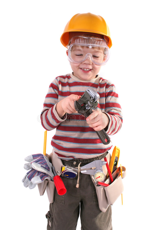 Download Young Builder stock photo. Image of powerful, dust, plastic - 3688646