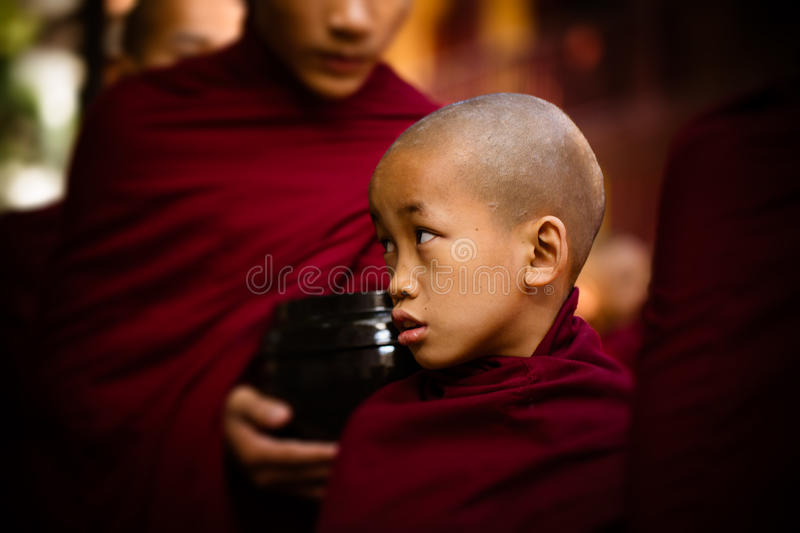 Young Burmese monk at Maha Gandaryon monastery waits in food line. royalty free stock images