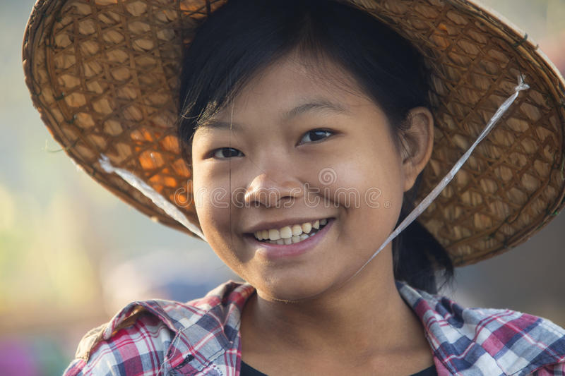 Young Burmese Woman - Myanmar (Burma). A young Burmese woman. Ngapali Beach in Rakhine State in Myanmar (Burma royalty free stock photos