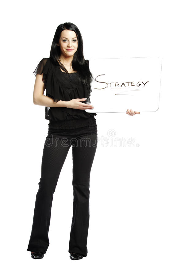 Download Young Business Casual Woman Holding White Board Stock Photo - Image: 21906426