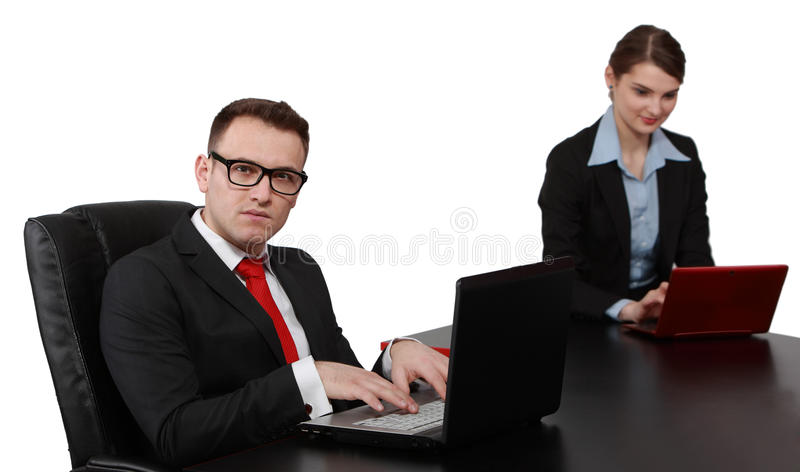 Download Young Business Couple On Laptops Royalty Free Stock Images - Image: 30961499