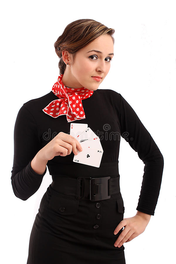 Download Young Business Girl With Playing Cards Royalty Free Stock Image - Image: 12995996