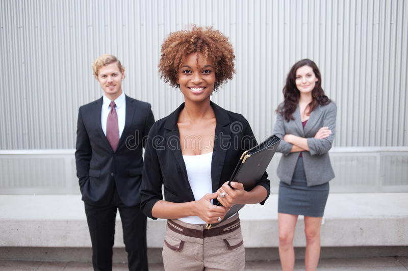Young business group at office royalty free stock photography