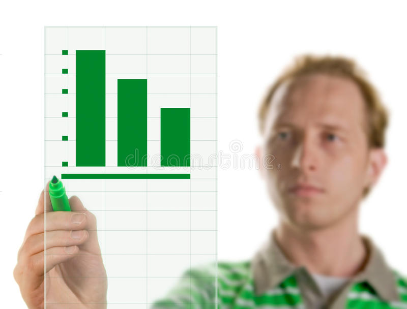 Young business hand drawing showing graph. stock photo