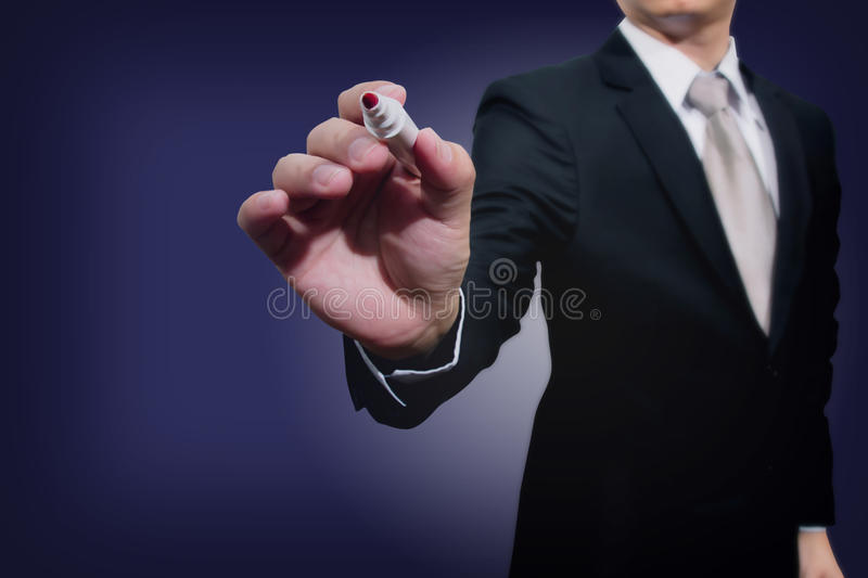 Young business hand with pen mark. Administrative theory royalty free stock photo