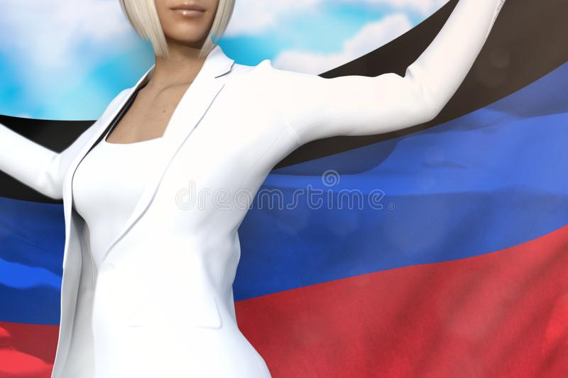 Beautiful business woman holds Donetsk Peoples Republic flag in hands behind her back on the blue sky background - flag concept 3d vector illustration