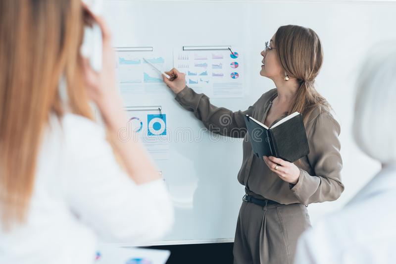 Business lady presentation analysis infographics. Young business lady making presentation. Financial analysis. Project performance gain productivity infographics royalty free stock photography