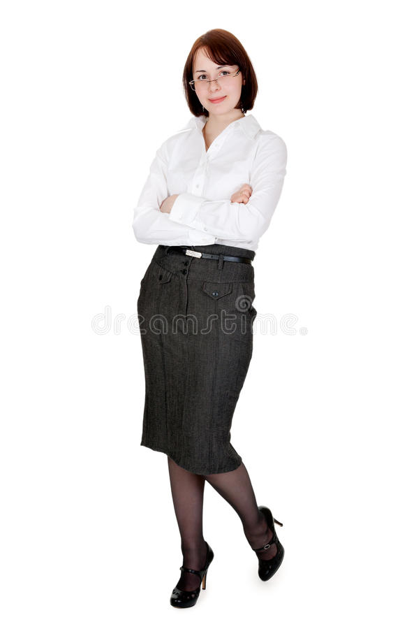 Young Business Lady In Spectacles In The Studio Stock Photos