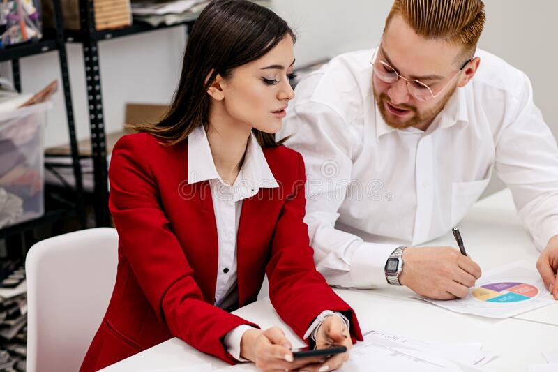 Young business leaders in office stock image