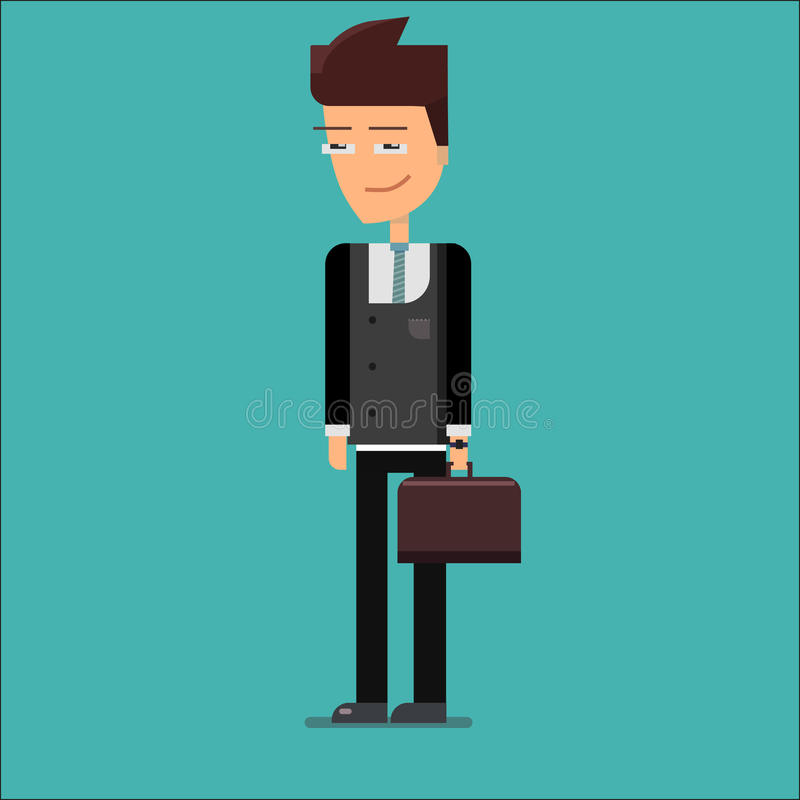Young business man in dark grey suit with case royalty free illustration