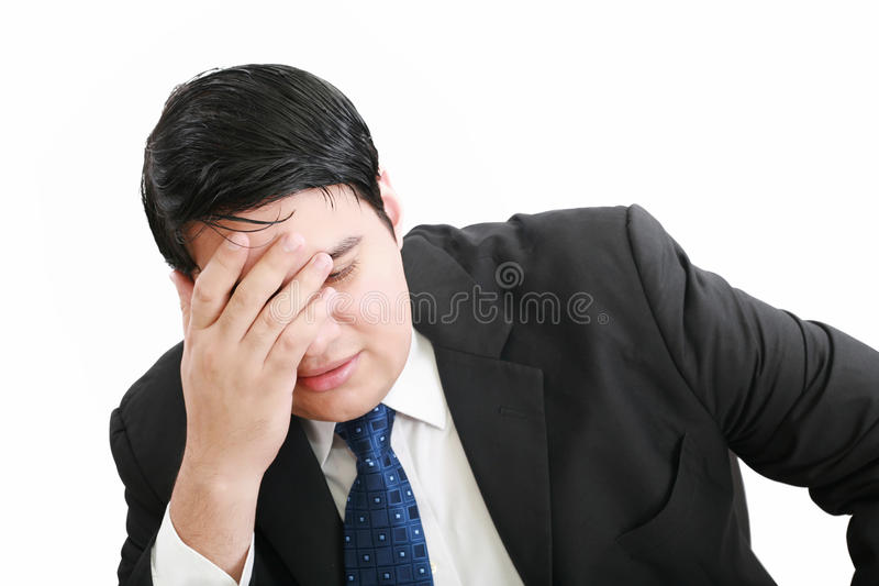 Young business man depressed from work royalty free stock images