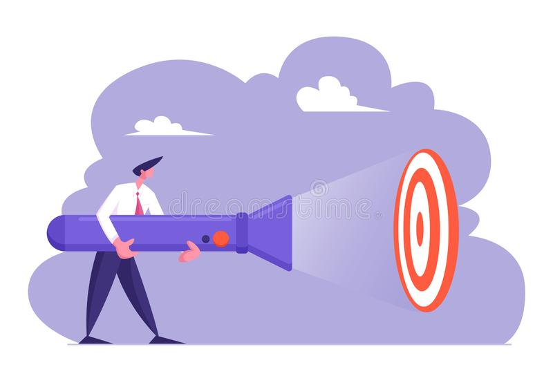 Young Business Man in Formal Suit Holding Huge Flashlight Lighting Up Aim, Uncovering Hidden Target Concept vector illustration