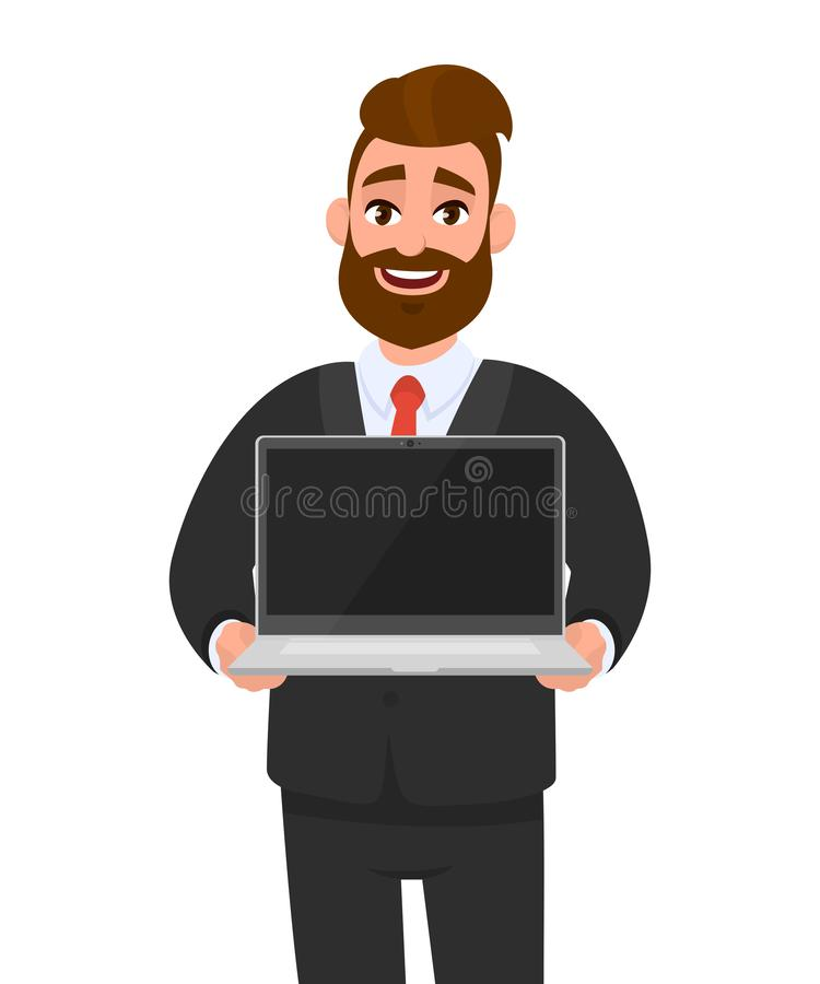 Young business man in formal wear suit holding or showing the blank screen of a laptop computer in hands. Modern lifestyle. stock illustration