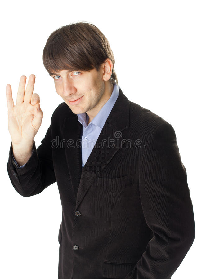 Download Young Business Man Gesturing Okay Sign Isolated On White Backgr Stock Photo - Image: 29635632