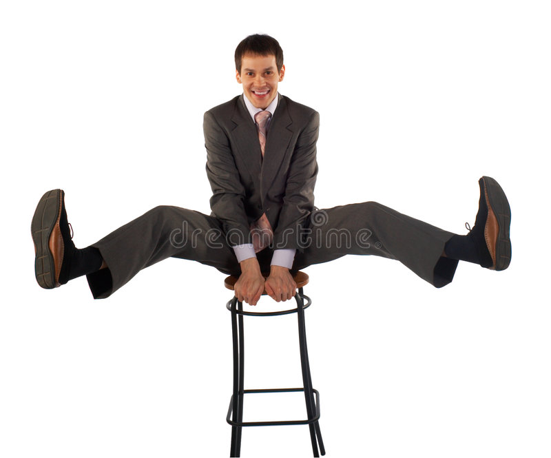 Young business man gladness. Isolated on white stock photos