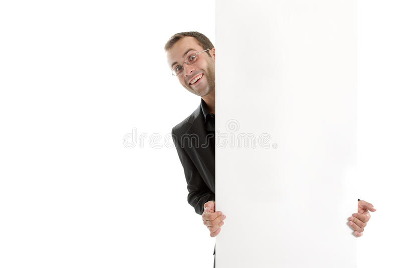 Download Young Business Man Hiding Behand An Add Space Stock Photo - Image of people, wall: 10352258