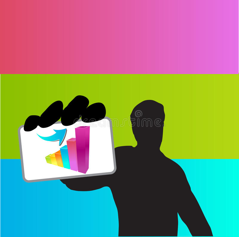 Download Young Business Man Holding Success Card Stock Illustration - Illustration: 30878307