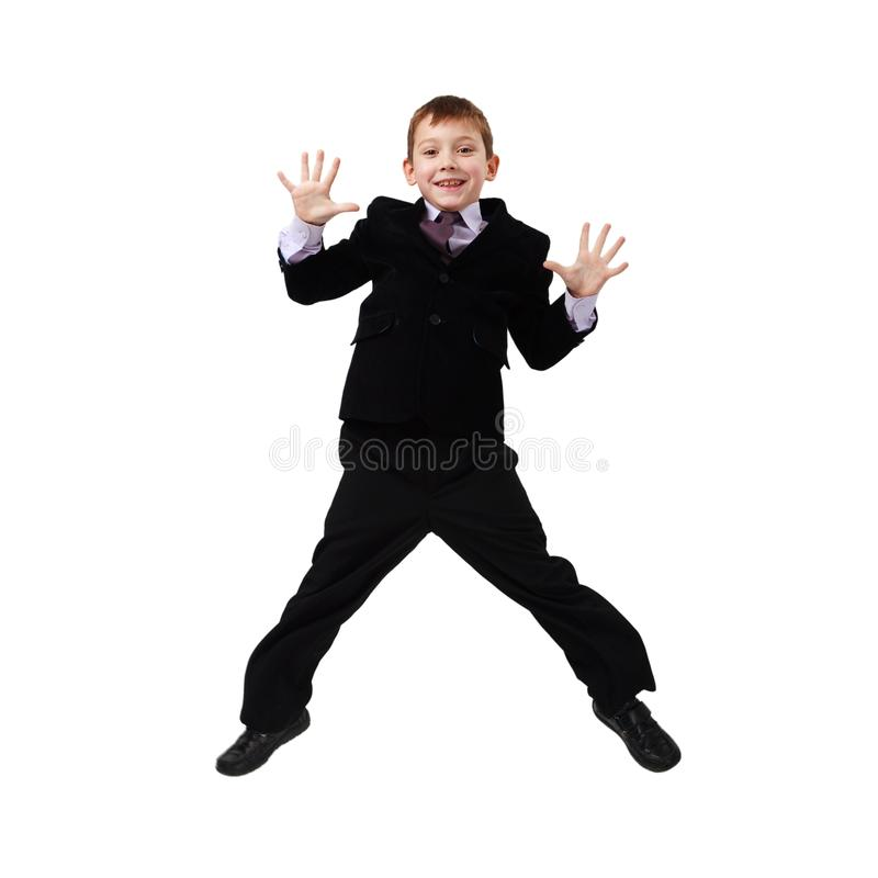Young Business Man Jumping Stock Photo