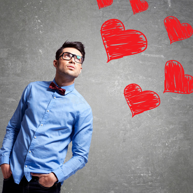 Download Man thinks at love stock image. Image of struck, concept - 30235393