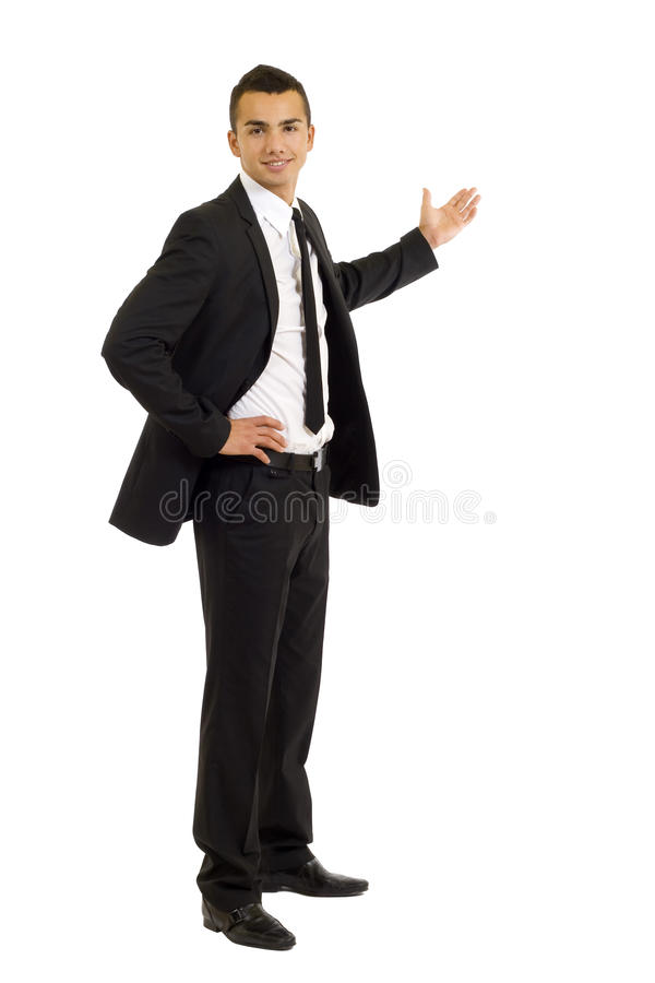 Young business man presenting stock image