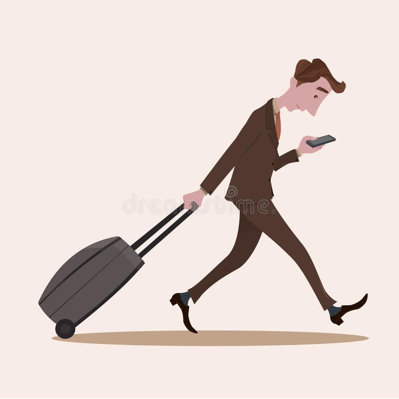 Young business man pulling the luggage busy with mobile phone stock illustration