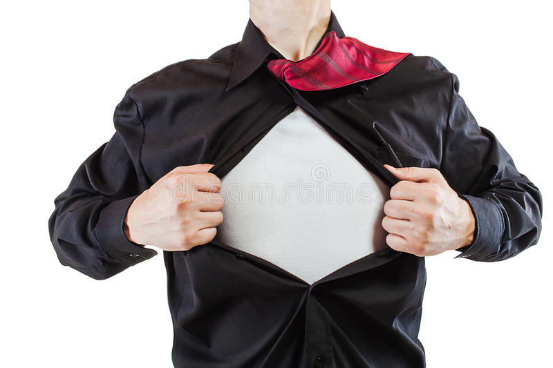 Download Young Business Man Revealing A Superhero Suit Stock Photo - Image of hands, concept: 27654824