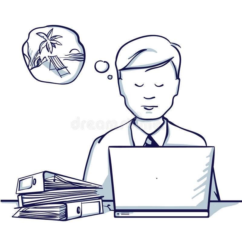 Download Young Business Man Sitting At The Table Next To His Laptop And Dreams Of