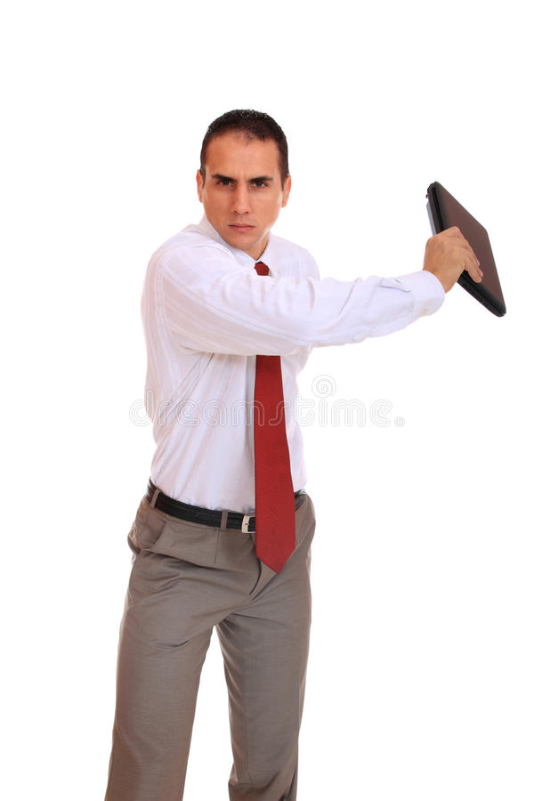 Download Young Business Man Standing With Laptop Stock Image - Image of confident, looking: 16492137