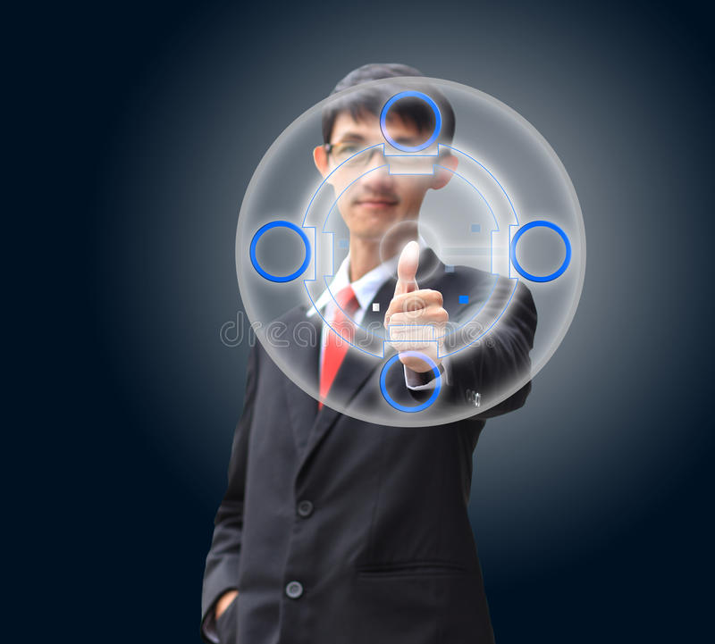 Young business man in a suit pointing with his finger.  royalty free illustration