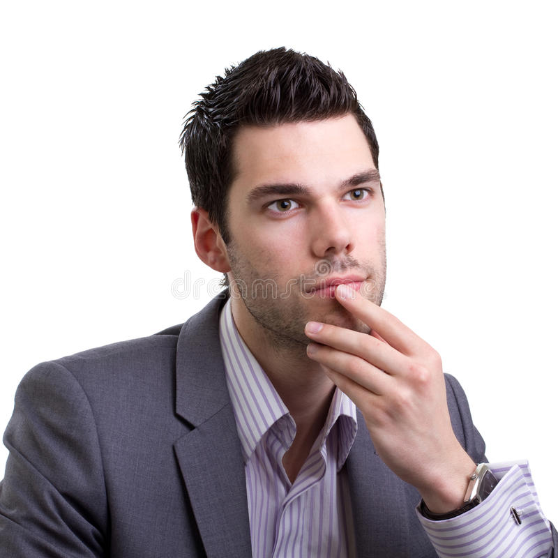 Young Business Man Thinking Hard Stock Photography