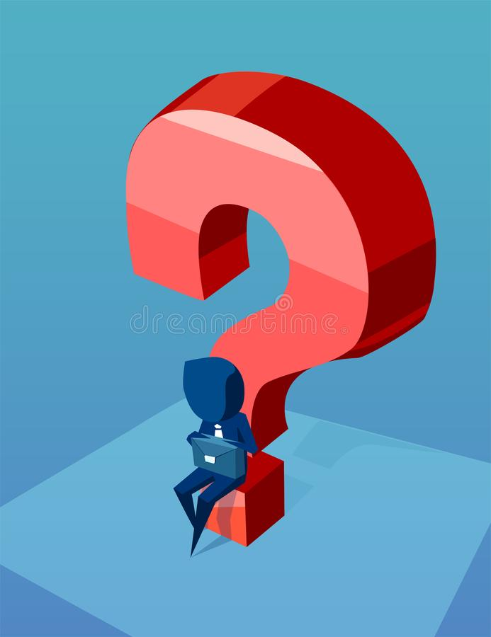 Young business man thinking has a question about next job. Career choosing concept. vector illustration